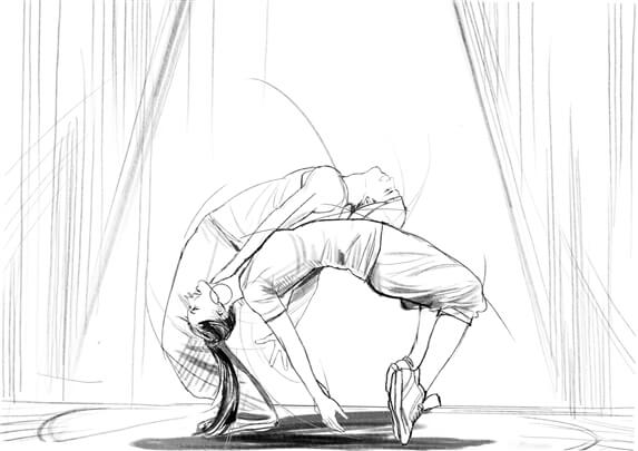 storyboard example created in pencil sketches of cinematic illustrations