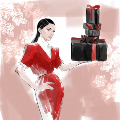 Draw A Dot storyboard example created in Marker Pen of Fashion Model in Red dress holding xmas packages