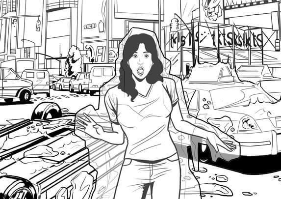 storyboard example created in graphic of comic book